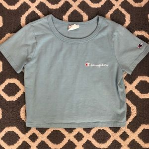 Champion blue cropped tee size small